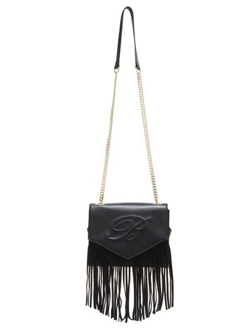 Leather Shoulder Bag With Fringes