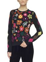 Jacquard Jumper With Flowers And Diamonds