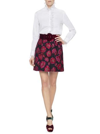 Jacquard Miniskirt With Peonies