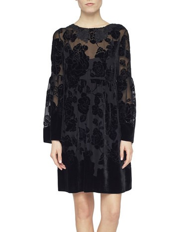 Flowery Dévoré Velvet Dress