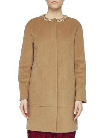 Round-neck Coat With Embroidery