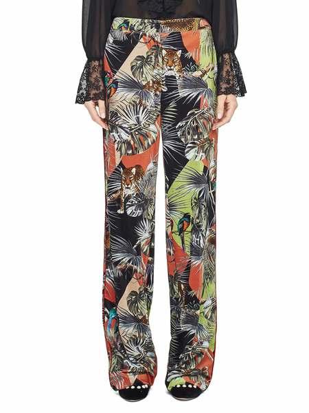 Pantalón De Terciopelo Con Estampado Tropical Patchwork