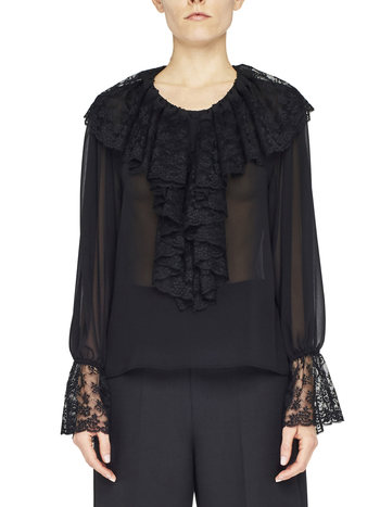 Chiffon Shirt With Lace