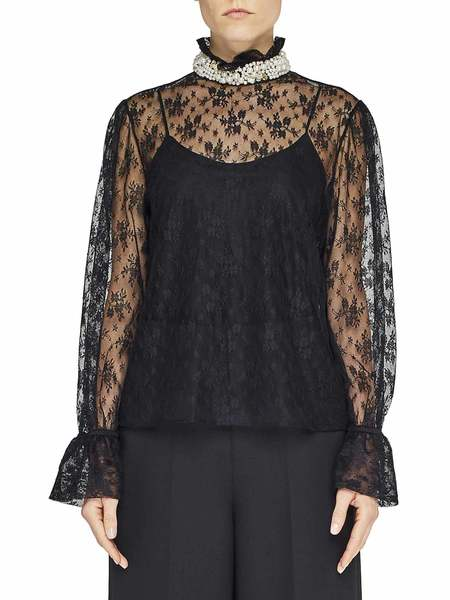 Lace Shirt With Embroidered Collar