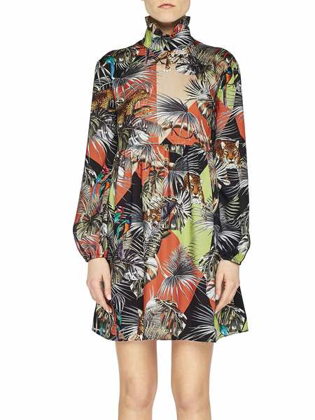 Patchwork Jungle Print Twill Dress