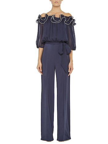 Jumpsuit With Flounce And Bow