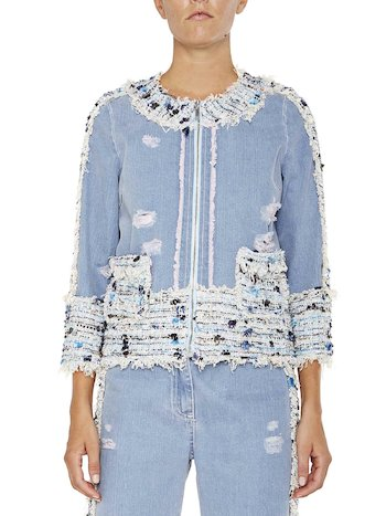 Denim Jacket With Rips And Appliqués