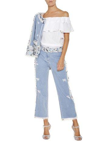 Jeans With Bouclé Appliqués