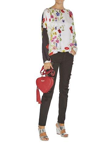 Two-colour Floral Print Blouse