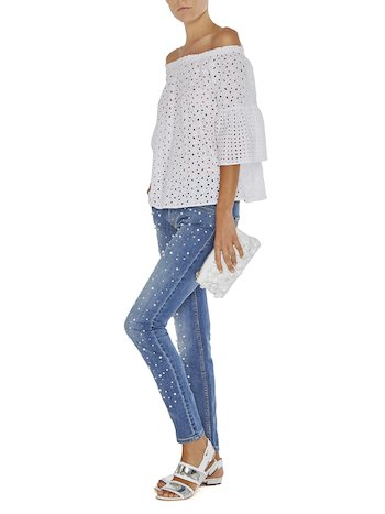 Jeans With Pearls And Rhinestones