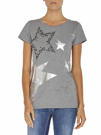 T-shirt With Appliqués And Rhinestones
