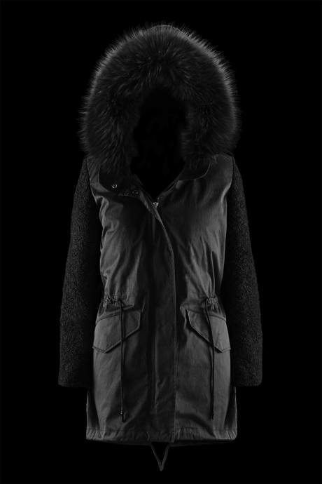 Woman's down jacket Bimaterial