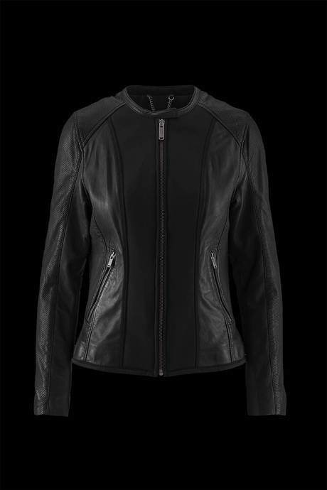 WOMEN'S LEATHER JACKET WITH NEOPRENE INSERTS IN TISSUE MATCHING