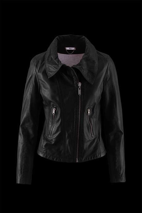 WOMEN'S LEATHER JACKET COMBINED WITH COTTON JERSEY