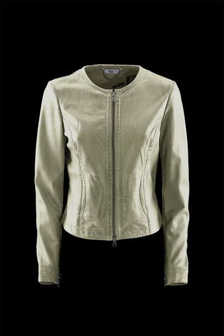 WOMEN'S LEATHER JACKET WITH COTTON JERSEY
