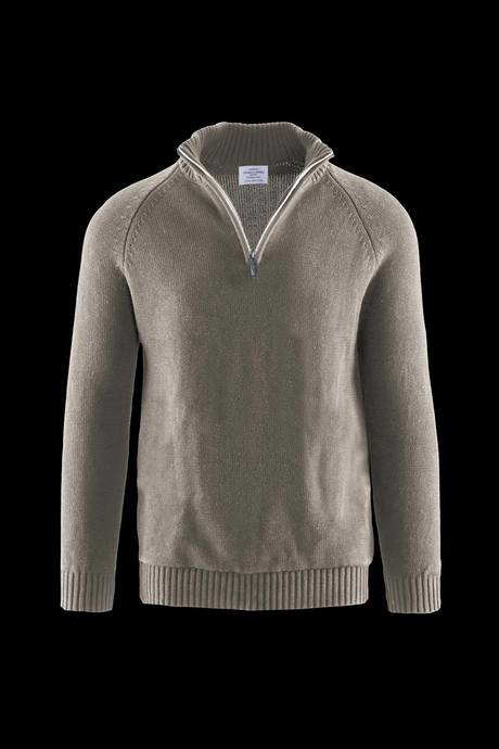 Man's high collar and zip sweater