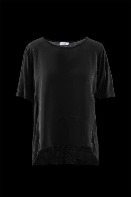 Woman's oversize bi-material t-shirt