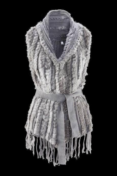 Veste sans manches pour femmes, avec frange et ceinture, fait en fausse fourrure effet lapin et tricot