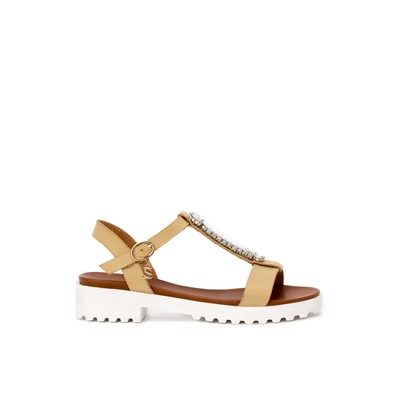 Ankle strap flatform sandals with stones – Swish