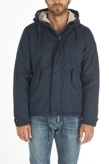 Man's cotton parka in solid color