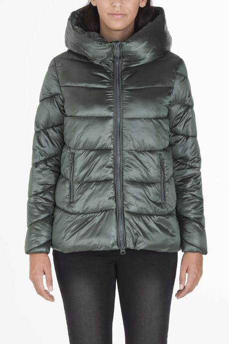 Woman's oversize down jacket  with hood with wavy stitches