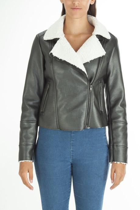 Woman's leather laminate jacket