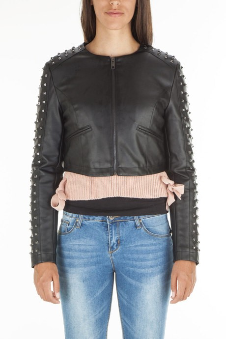 Woman's faux leather jacket with  studs