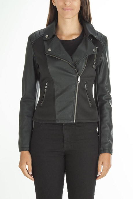 Woman's leather jacket with neoprene inserts
