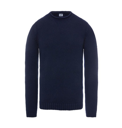 WOOL MIX FISHERMAN CREW NECK SWEATER