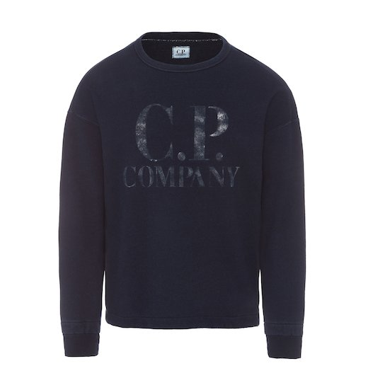WASHED INDIGO FLEECE C.P. BIG LOGO CREW NECK SWEATSHIRT