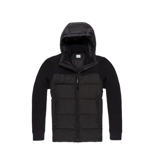 3-GAUGE LAMBSWOOL AND DOWN HOODED BLOUSON