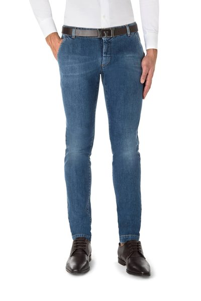 Long American pocket blue jeans