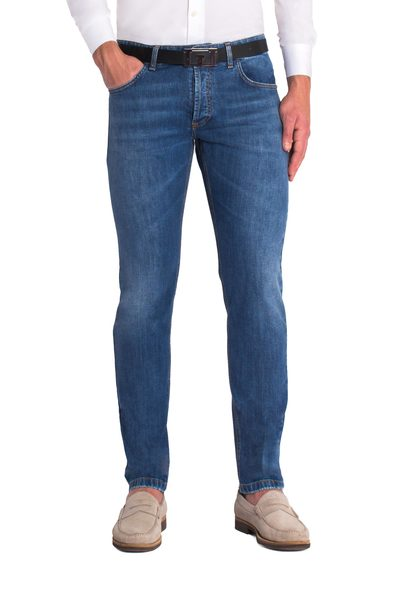 Long dark blue 5-pockets jeans