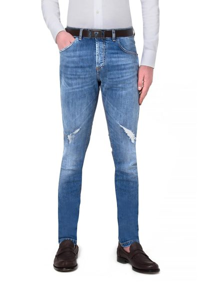 Long 5- pockets jeans with rips