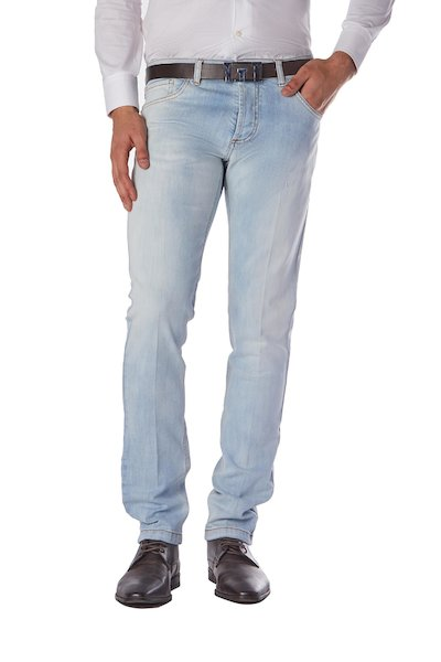Five-pocket long  jeans with button fastening