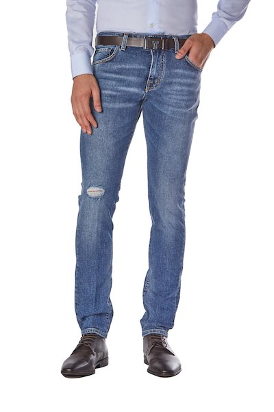 Five-pocket long jeans with small grinding
