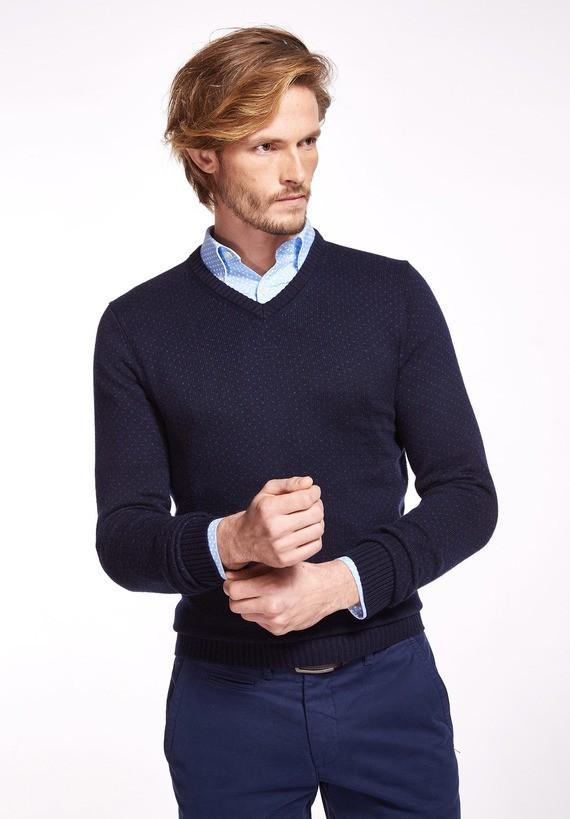 Jersey cuello pico jacquard bicolor