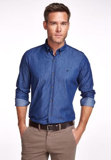 Camisa tejana lisa slim