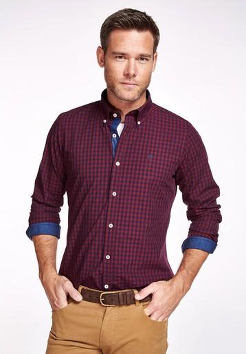 Camisa algodón bicolor slim