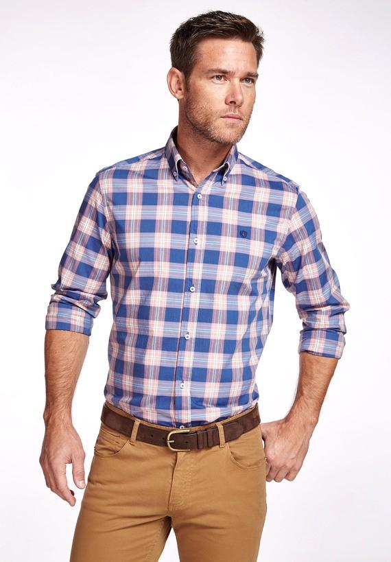 Camisa algodón cuadros pastel slim