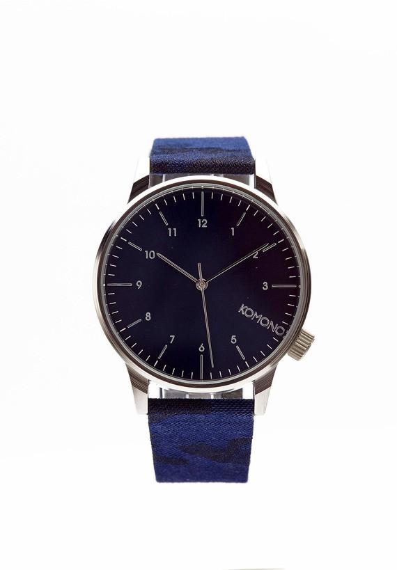 Reloj esfera azul y pulsera camuflaje indigo