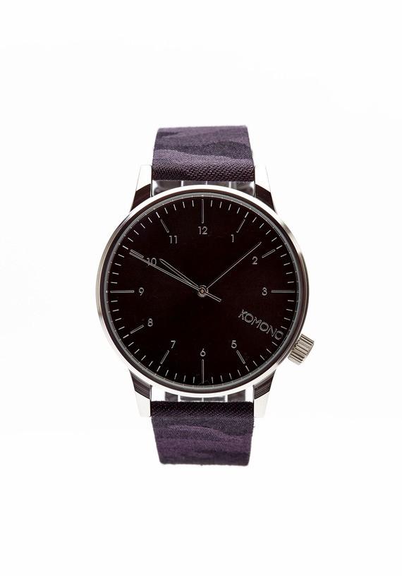 Reloj esfera negra y pulsera camuflaje gris