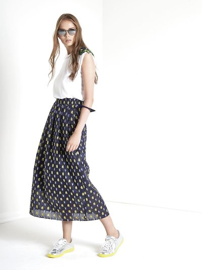 High-waist midi skirt with applications