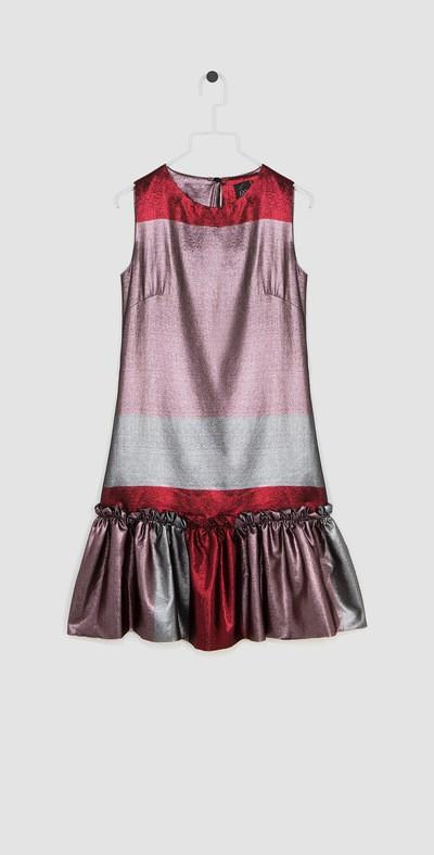 Dress with blush pink/cherry ruffles