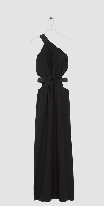 One-shoulder long black dress