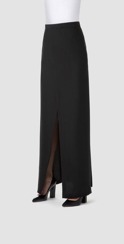 Long black skirt with slit