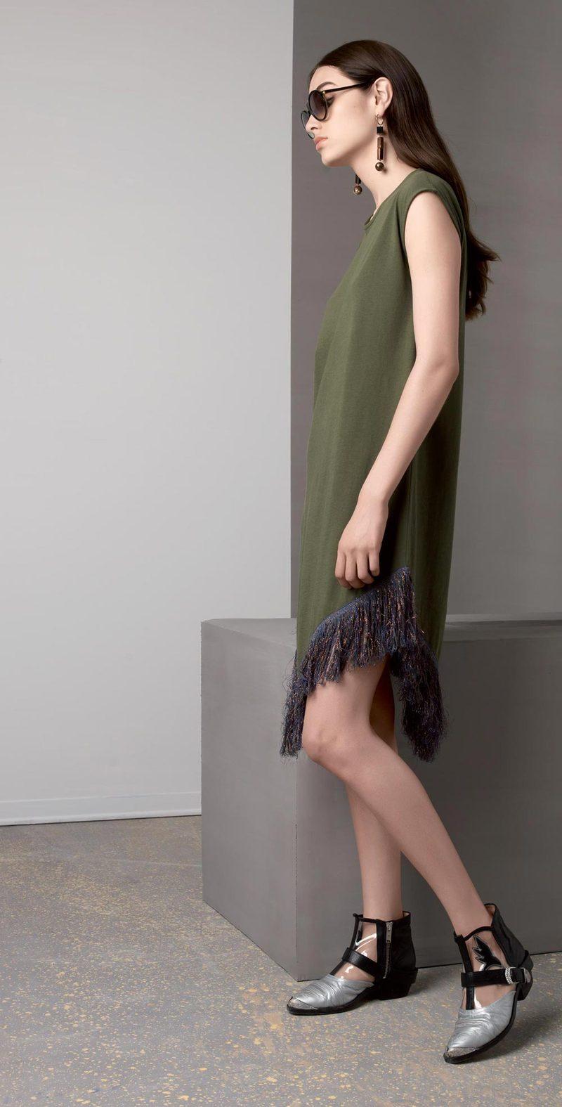 Olive dress with fringe