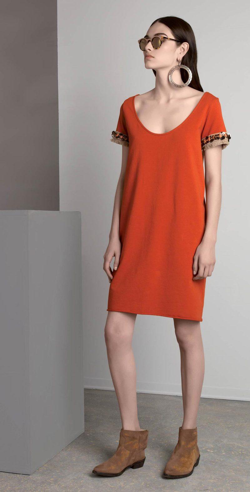 Pumpkin dress with applications