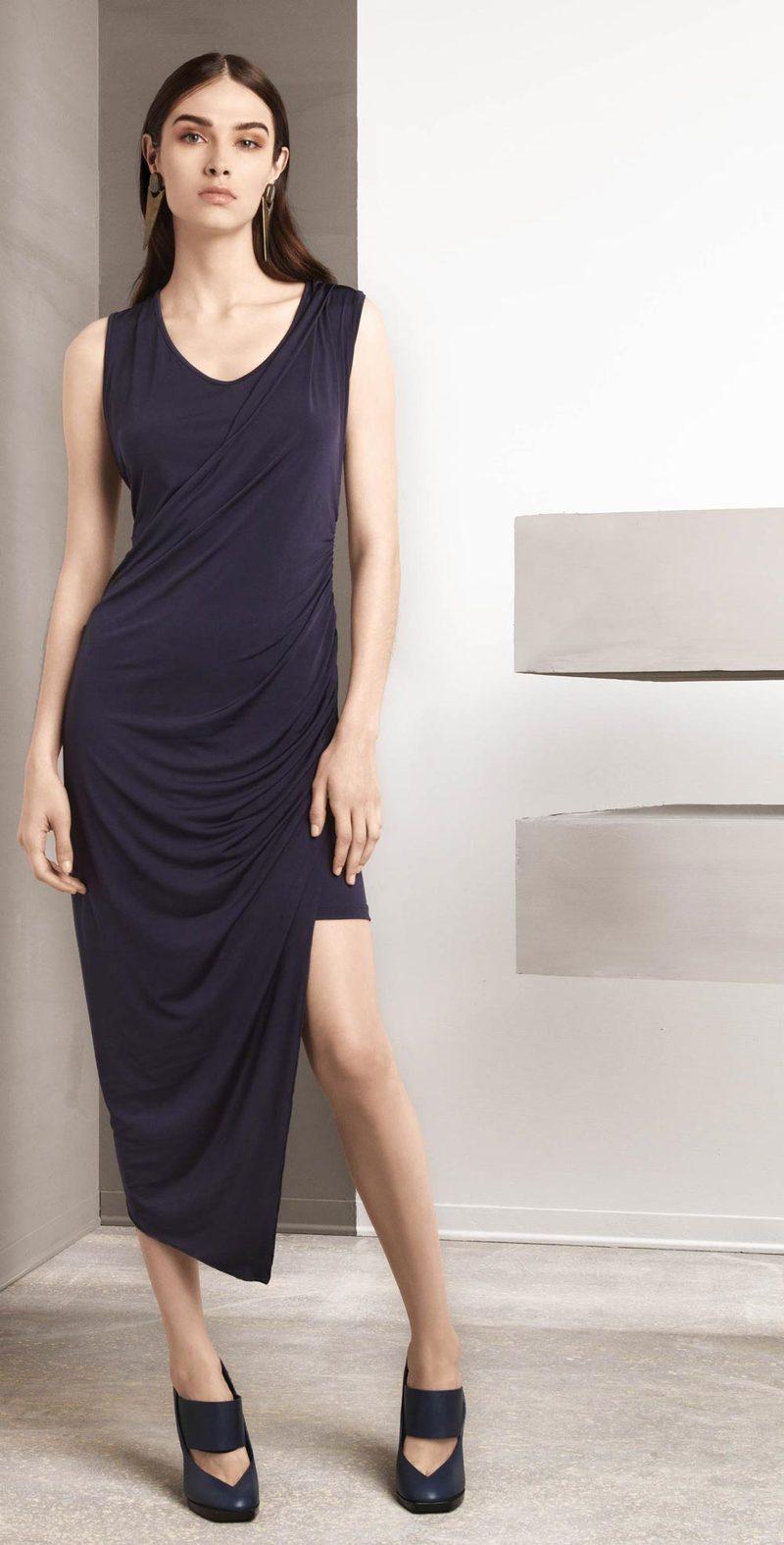 Asymmetric blue dress