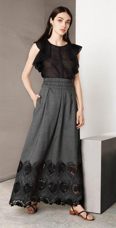 Black shirt with ruffles
